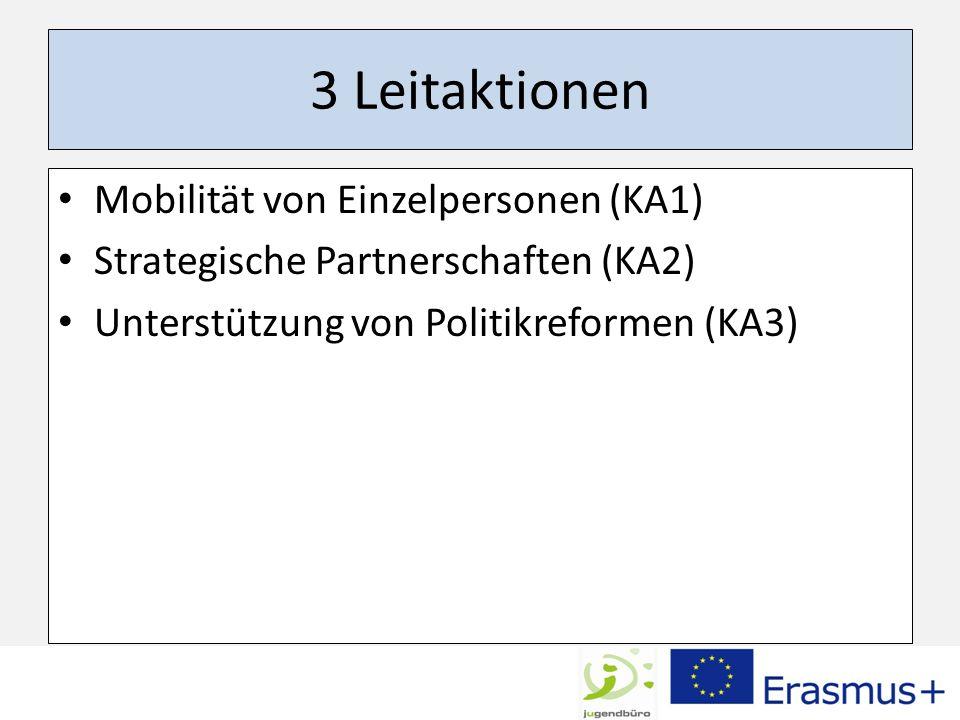 3 Leitaktionen Mobilität von Einzelpersonen (KA1)