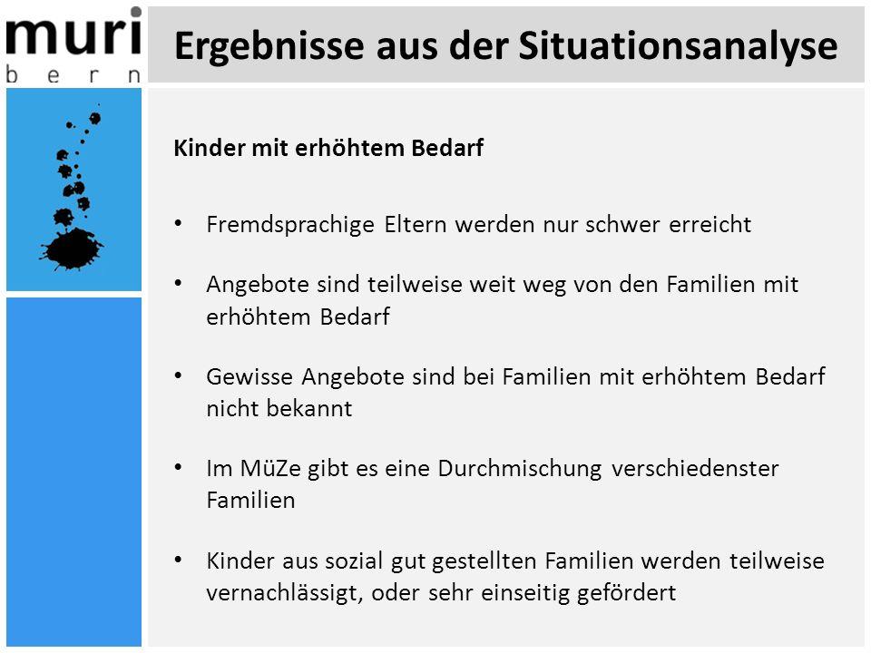 Ergebnisse aus der Situationsanalyse