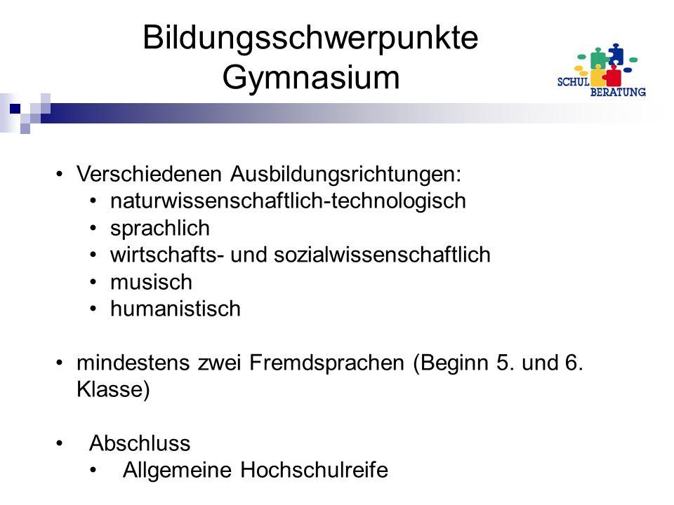 Bildungsschwerpunkte Gymnasium