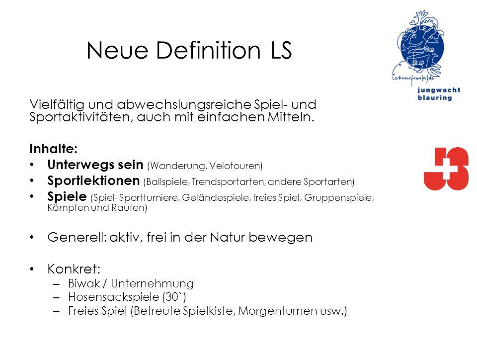Neue Definition LS Vielfältig und abwechslungsreiche Spiel- und Sportaktivitäten, auch mit einfachen Mitteln.