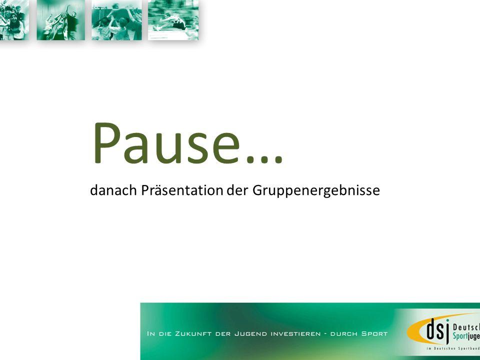 Pause… danach Präsentation der Gruppenergebnisse