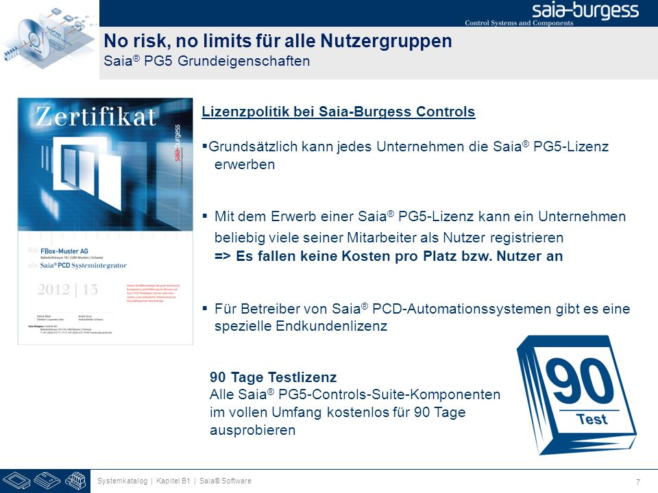 No risk, no limits für alle Nutzergruppen Saia® PG5 Grundeigenschaften