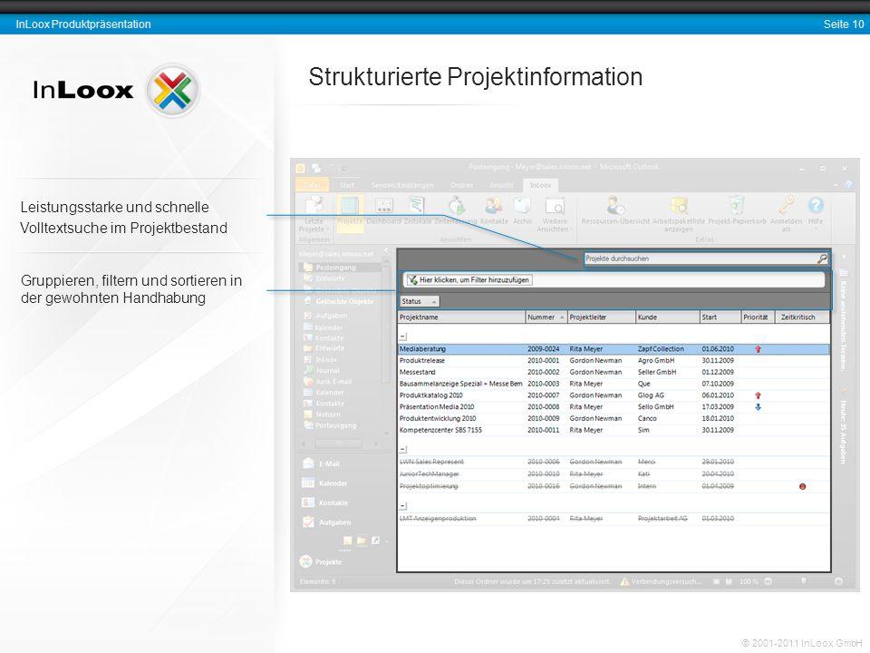 Strukturierte Projektinformation