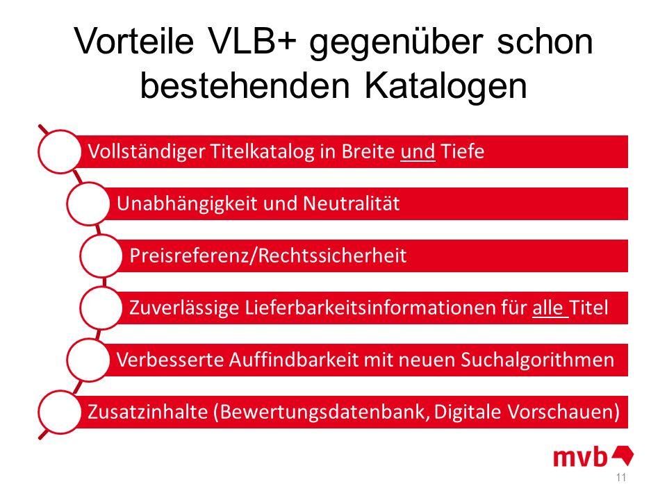 Vorteile VLB+ gegenüber schon bestehenden Katalogen