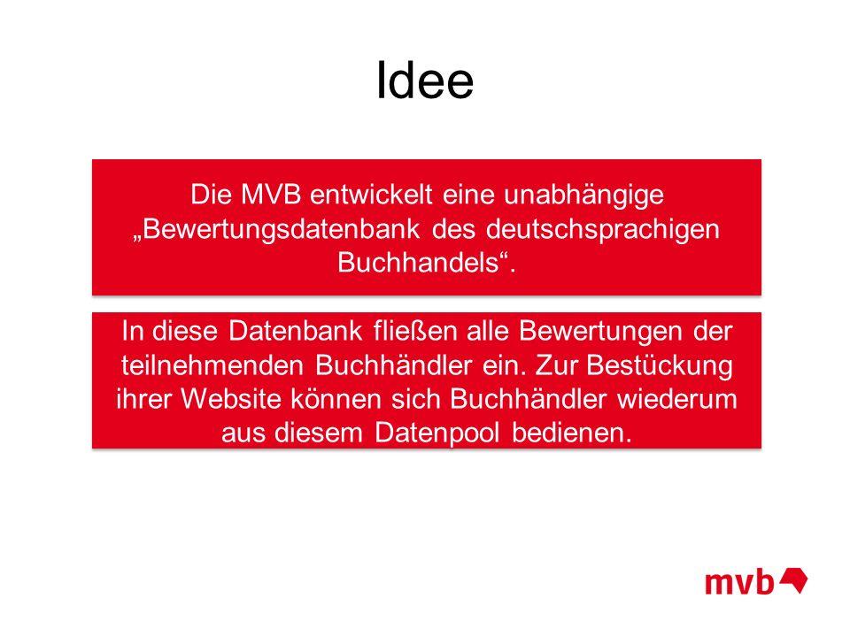 """Idee Die MVB entwickelt eine unabhängige """"Bewertungsdatenbank des deutschsprachigen Buchhandels ."""
