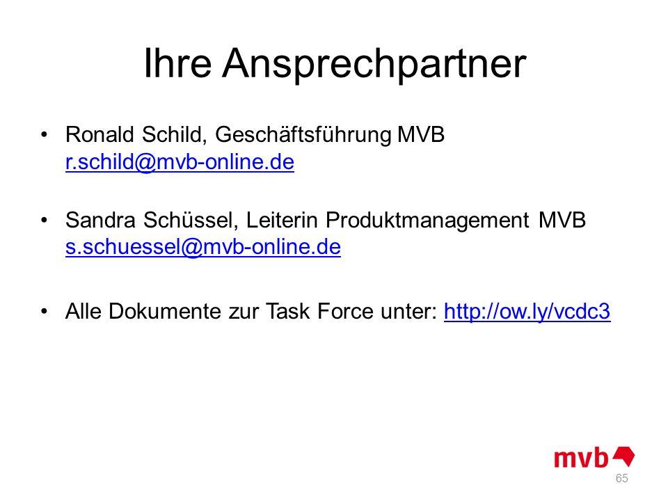 Ihre Ansprechpartner Ronald Schild, Geschäftsführung MVB r.schild@mvb-online.de.