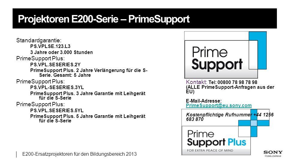 Projektoren E200-Serie – PrimeSupport