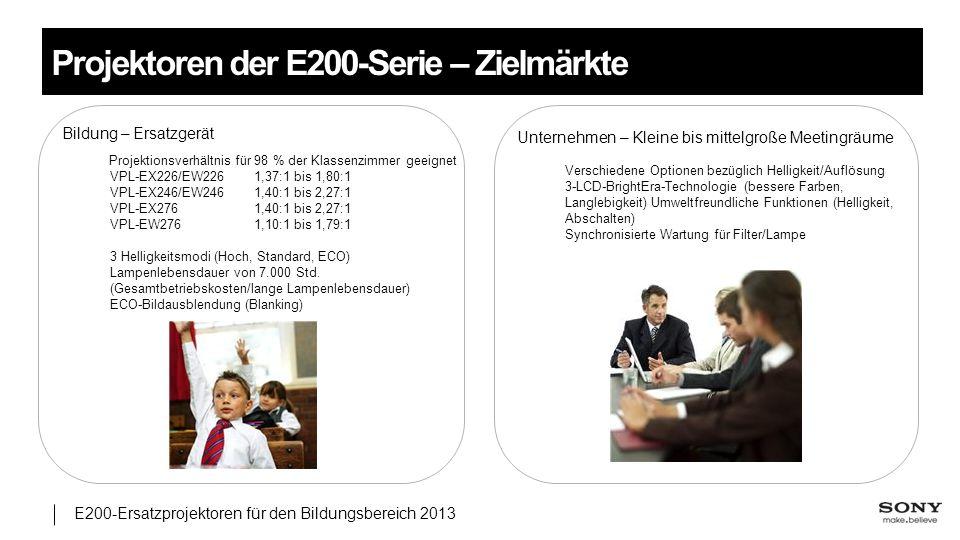 Projektoren der E200-Serie – Zielmärkte
