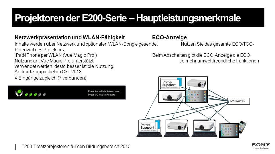 Projektoren der E200-Serie – Hauptleistungsmerkmale