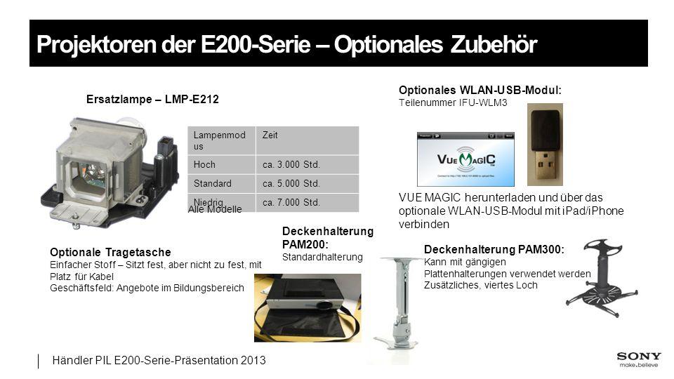 Projektoren der E200-Serie – Optionales Zubehör