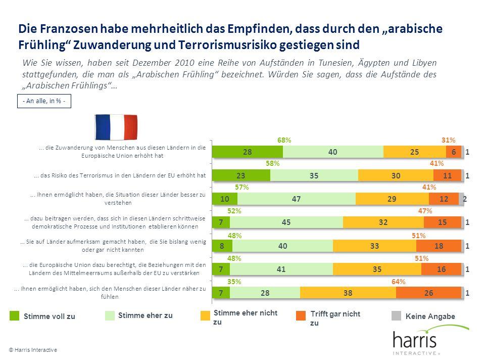 """Die Franzosen habe mehrheitlich das Empfinden, dass durch den """"arabische Frühling Zuwanderung und Terrorismusrisiko gestiegen sind"""