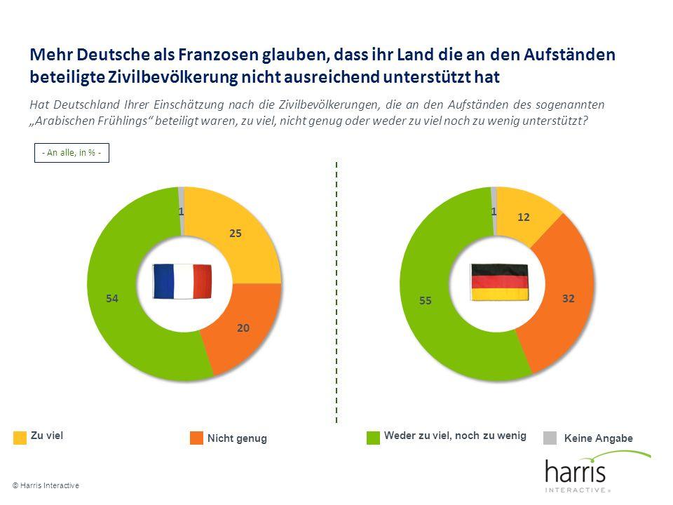 Mehr Deutsche als Franzosen glauben, dass ihr Land die an den Aufständen beteiligte Zivilbevölkerung nicht ausreichend unterstützt hat