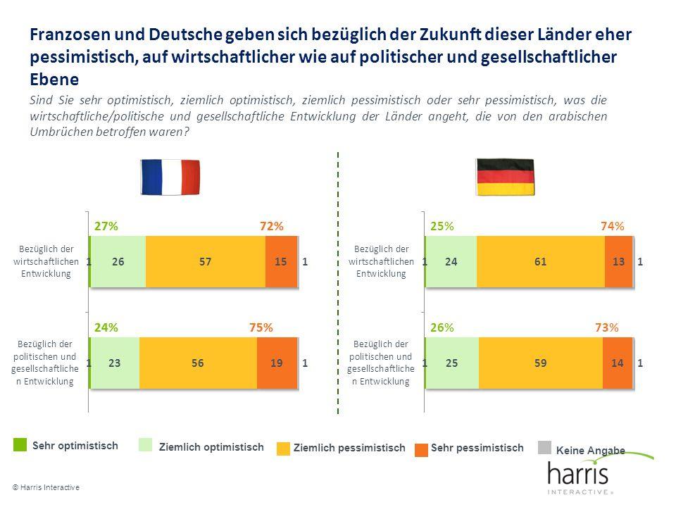 Franzosen und Deutsche geben sich bezüglich der Zukunft dieser Länder eher pessimistisch, auf wirtschaftlicher wie auf politischer und gesellschaftlicher Ebene