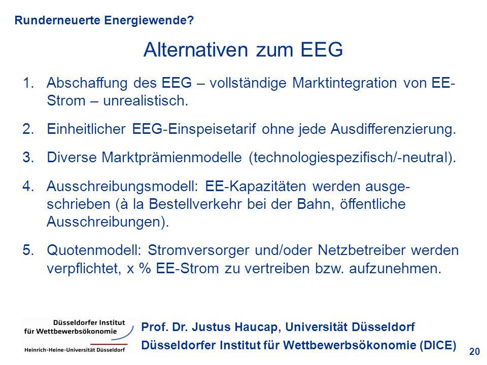 Alternativen zum EEG Abschaffung des EEG – vollständige Marktintegration von EE-Strom – unrealistisch.