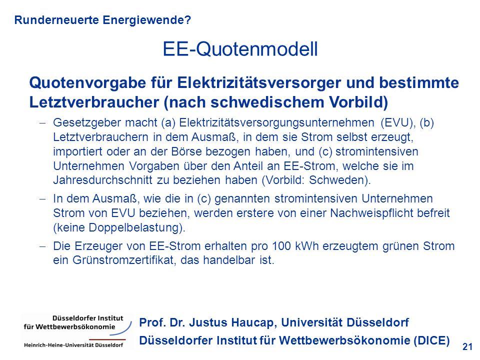 EE-Quotenmodell Quotenvorgabe für Elektrizitätsversorger und bestimmte Letztverbraucher (nach schwedischem Vorbild)