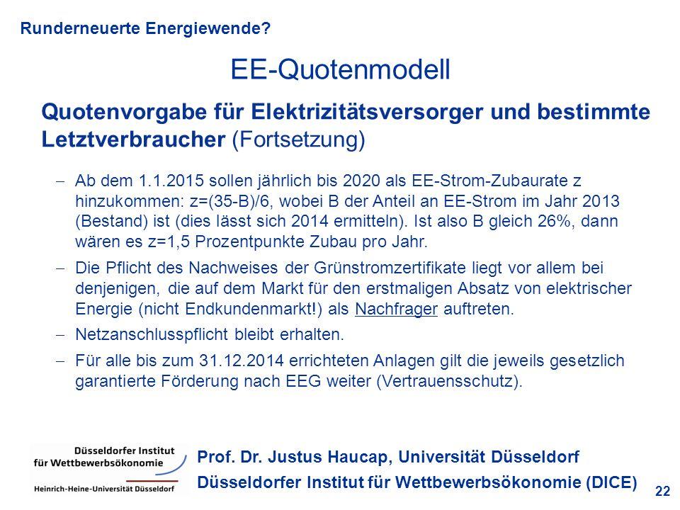 EE-Quotenmodell Quotenvorgabe für Elektrizitätsversorger und bestimmte Letztverbraucher (Fortsetzung)