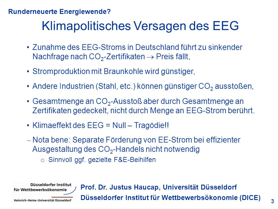 Klimapolitisches Versagen des EEG