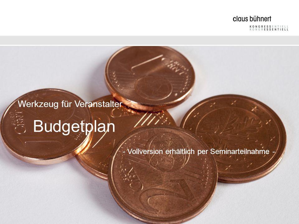 Werkzeug für Veranstalter. Budgetplan