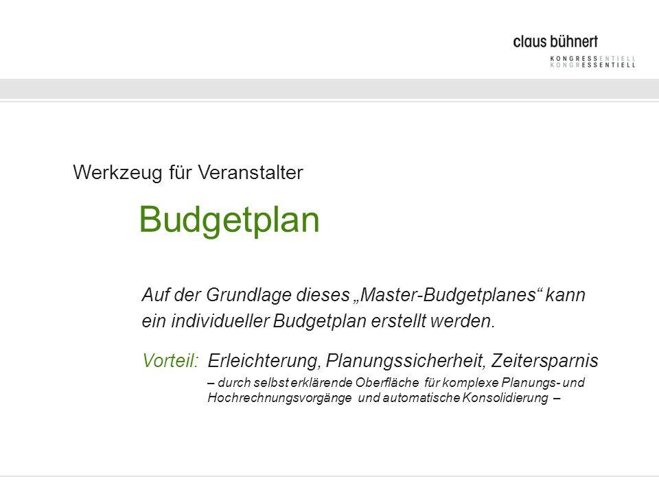 Werkzeug für Veranstalter Budgetplan