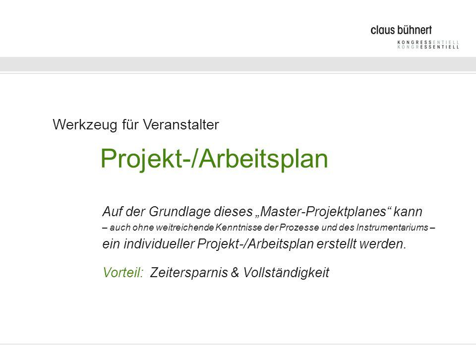 Werkzeug für Veranstalter Projekt-/Arbeitsplan