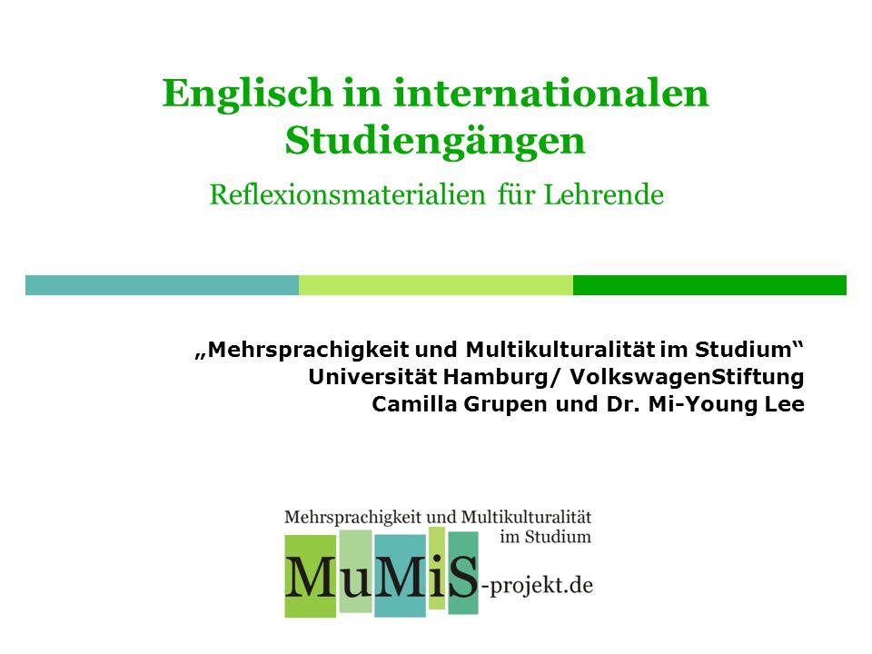 Englisch in internationalen Studiengängen Reflexionsmaterialien für Lehrende