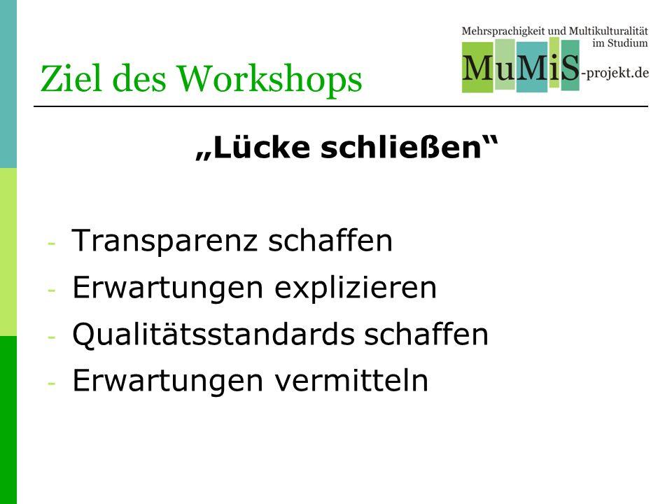 """Ziel des Workshops """"Lücke schließen Transparenz schaffen"""