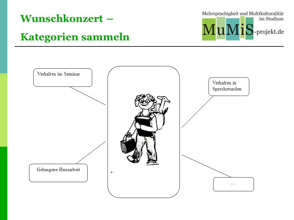 Wunschkonzert – Kategorien sammeln Verhalten im Seminar