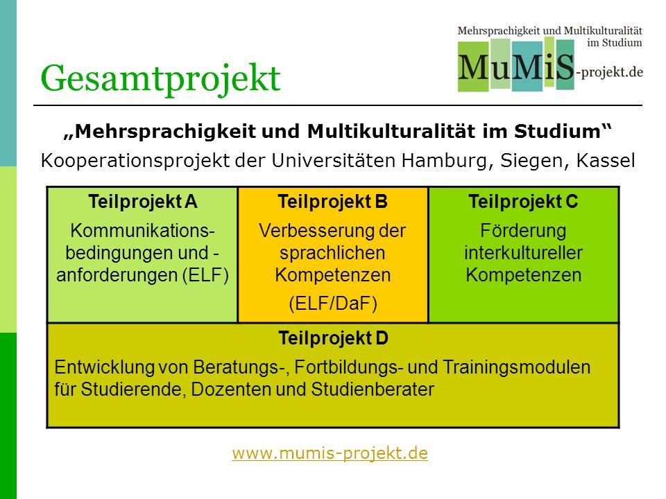 """Gesamtprojekt """"Mehrsprachigkeit und Multikulturalität im Studium"""
