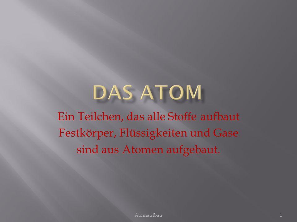 Das Atom Ein Teilchen, das alle Stoffe aufbaut