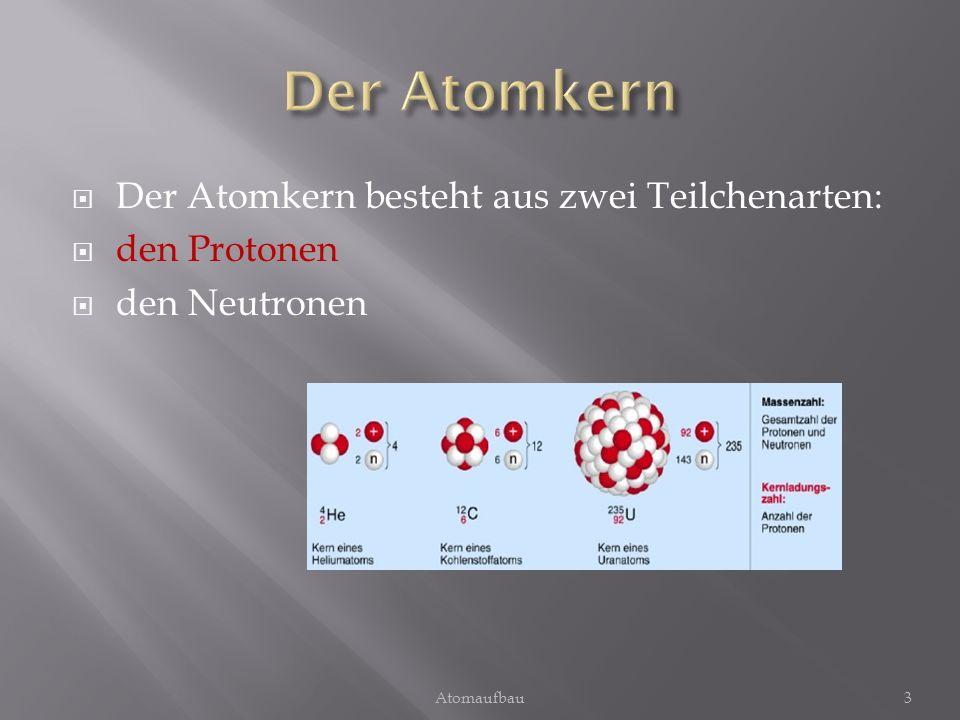 Der Atomkern Der Atomkern besteht aus zwei Teilchenarten: den Protonen