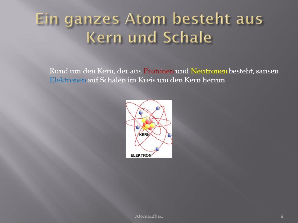 Ein ganzes Atom besteht aus Kern und Schale