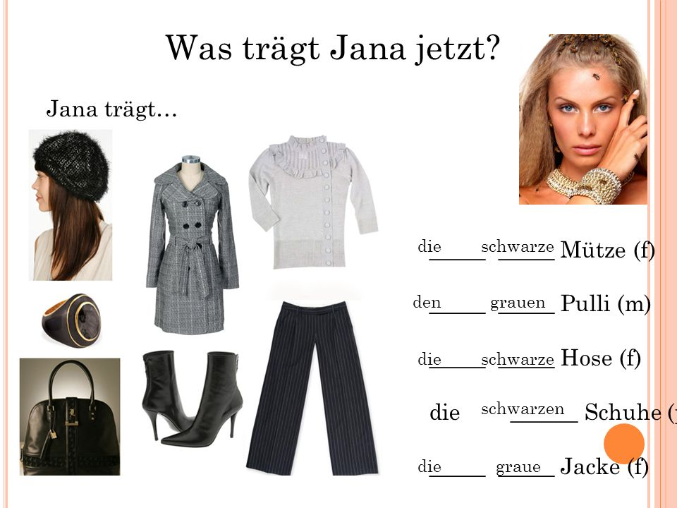 Was trägt Jana jetzt Jana trägt… _____ _____ Mütze (f)