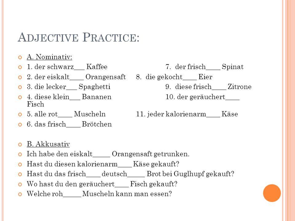 Adjective Practice: A. Nominativ: