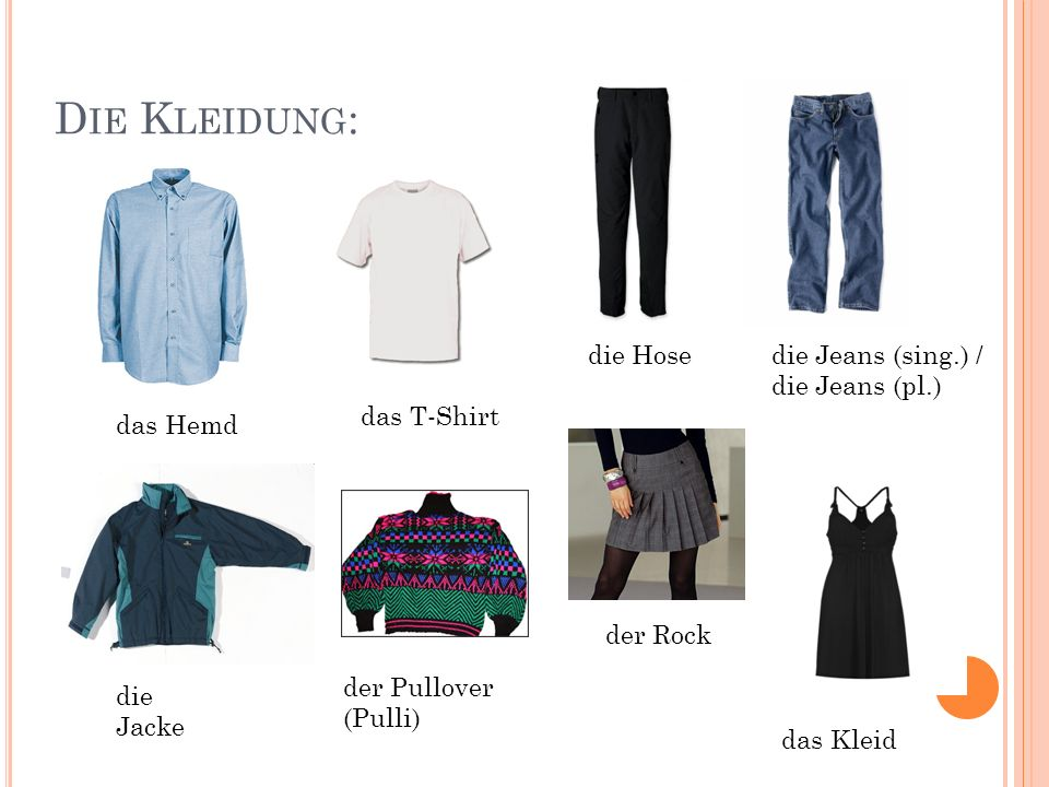 Die Kleidung: die Hose die Jeans (sing.) / die Jeans (pl.) das T-Shirt