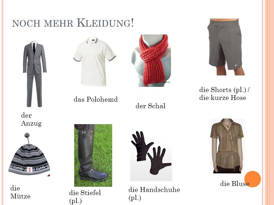 noch mehr Kleidung! die Shorts (pl.) / die kurze Hose das Polohemd