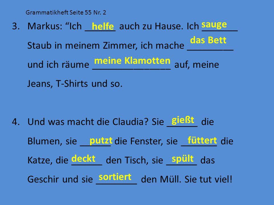 Grammatikheft Seite 55 Nr. 2