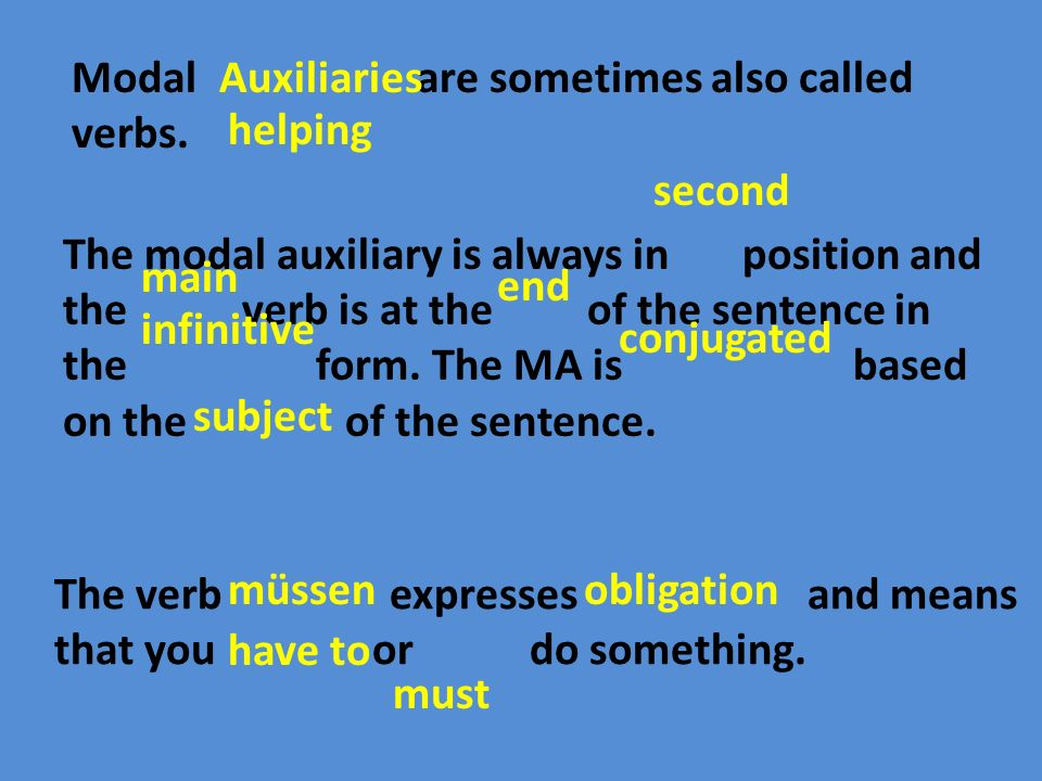 Modal are sometimes also called verbs.