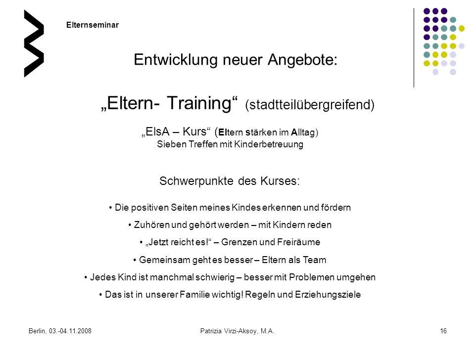 """""""Eltern- Training (stadtteilübergreifend)"""