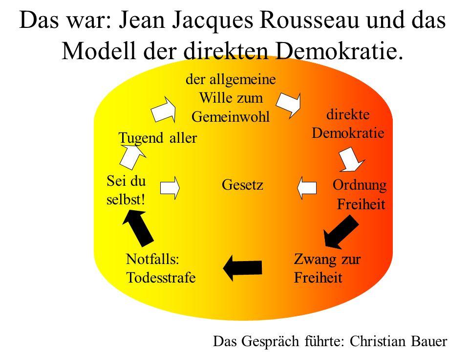 Das war: Jean Jacques Rousseau und das Modell der direkten Demokratie.
