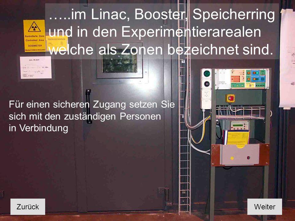 …..im Linac, Booster, Speicherring und in den Experimentierarealen welche als Zonen bezeichnet sind.