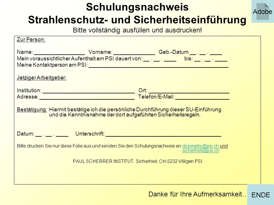 PAUL SCHERRER INSTITUT, Sicherheit, CH-5232 Villigen PSI