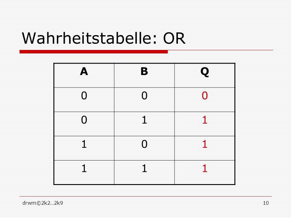 Wahrheitstabelle: OR A B Q 1 drwm©2k2..2k9