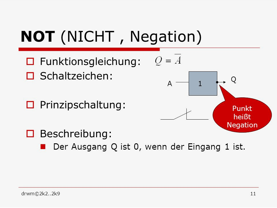 NOT (NICHT , Negation) Funktionsgleichung: Schaltzeichen:
