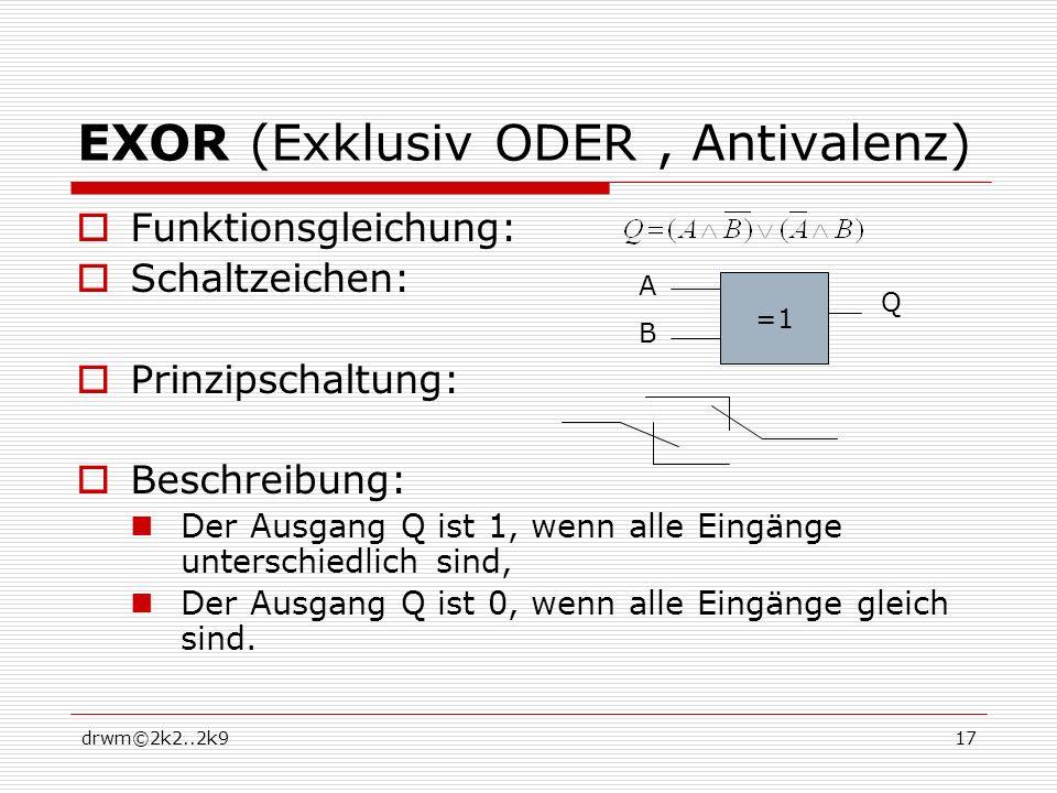 EXOR (Exklusiv ODER , Antivalenz)