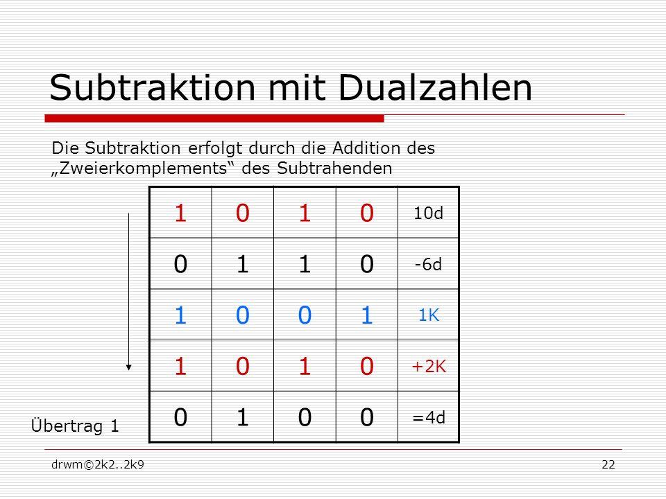 Subtraktion mit Dualzahlen