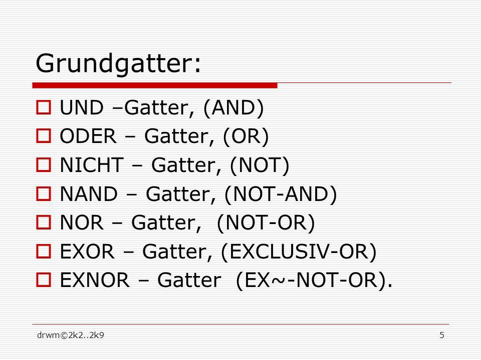 Grundgatter: UND –Gatter, (AND) ODER – Gatter, (OR)