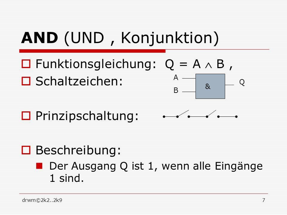 AND (UND , Konjunktion) Funktionsgleichung: Q = A  B , Schaltzeichen: