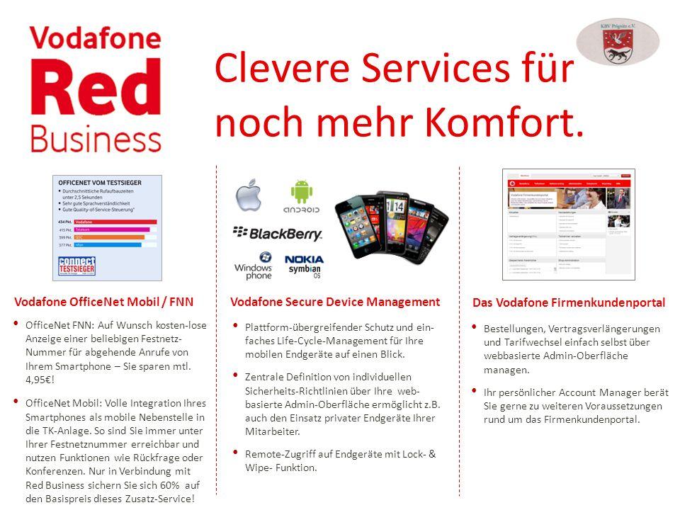 Clevere Services für noch mehr Komfort. Vodafone OfficeNet Mobil / FNN