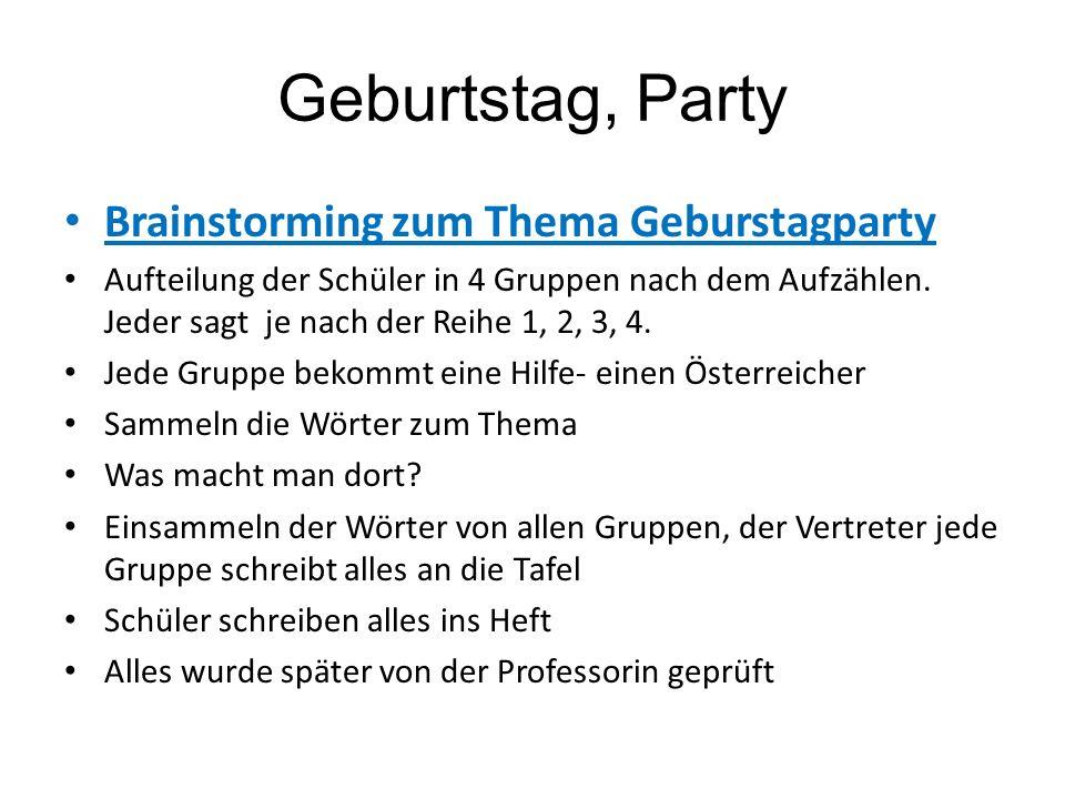 Geburtstag, Party Brainstorming zum Thema Geburstagparty