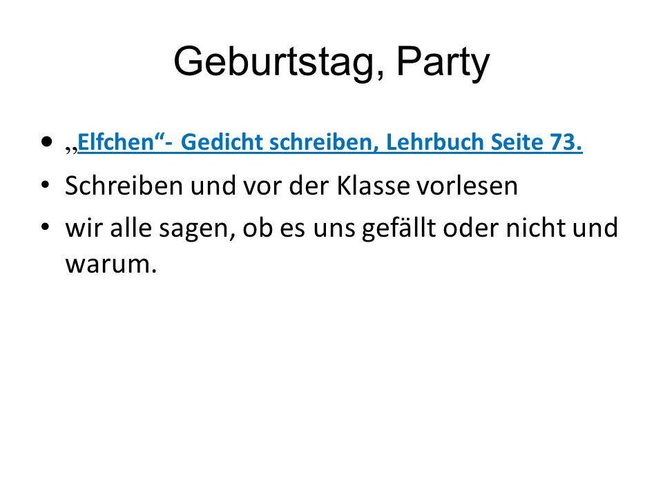 """Geburtstag, Party """"Elfchen - Gedicht schreiben, Lehrbuch Seite 73."""